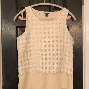 Ann Taylor white cream layered blouse SP